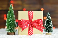 Cadeau de Noël et arbres de Noël miniatures Image stock