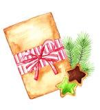 Cadeau de Noël et biscuits sur un blanc Illustration Stock