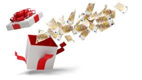 Cadeau de Noël ouvert avec la neige et 50 billets de banque 3d-illustration d'euro illustration de vecteur