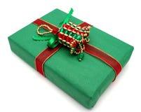 Cadeau de Noël vert Images stock