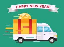 Cadeau de van Christmas de camion de transport de vecteur de la livraison Photo stock