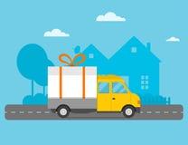 Cadeau de van Christmas de camion de transport de vecteur de la livraison Photo libre de droits