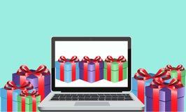 Cadeau en ligne illustration stock