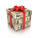 Cadeau enveloppé dans des billets d'un dollar Photo libre de droits
