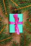 Cadeau enveloppé pour Noël ou d'autres branches de célébration et impeccables Photographie stock