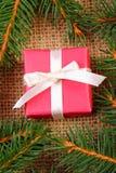 Cadeau enveloppé pour Noël ou d'autres branches de célébration et impeccables Photos libres de droits