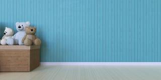 Cadeau et boîte de poupée sur le mur bleu Image libre de droits