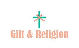 Cadeau et logo de religion Photos stock