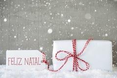 Cadeau, fond de ciment avec des flocons de neige, Feliz Natal Means Merry Christmas Photographie stock libre de droits