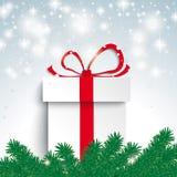 Cadeau léger de branche de sapin de neige Photographie stock libre de droits