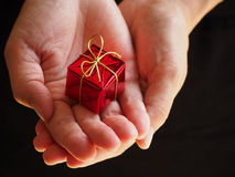 Cadeau minuscule dans des mains Photographie stock libre de droits