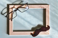 Cadeau, papa, heureux, fond, carte, salutation, amour, moustache, présent, père, célébration, symboles, faits main, Images stock