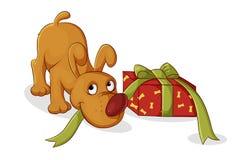 Cadeau pour le chiot Photo stock