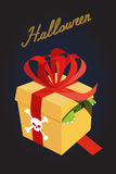 Cadeau pour Veille de la toussaint Monstre dans une boîte crainte Un cadeau terrible Photo stock