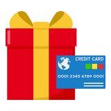 Cadeau rouge et icône plate bleue de carte de crédit Photographie stock