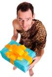Cadeau sincère d'homme drôle sauvage Photographie stock libre de droits