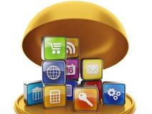 Cadeau sous forme d'applications mobiles Photographie stock