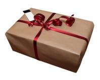 Cadeau sur le blanc avec une carte vierge Photo libre de droits