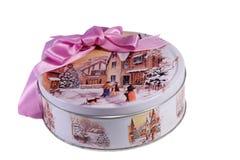 Cadeau : une belle boîte avec l'image de l'hiver, décorée d'a Photo stock