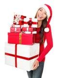 Cadeaux asiatiques d'achats de femme de Santa de Noël Image stock