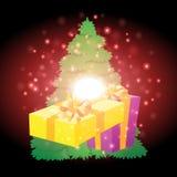 Cadeaux avec le fond de Noël et le vecteur de carte de voeux Photo stock