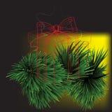 Cadeaux avec le fond de Noël et le vecteur de carte de voeux Photographie stock libre de droits