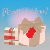 Cadeaux avec le fond de Noël et le vecteur de carte de voeux Images stock