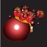 Cadeaux avec le fond de Noël et le vecteur de carte de voeux Photographie stock