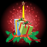 Cadeaux avec le fond de Noël et le vecteur de carte de voeux Photos stock