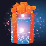 Cadeaux avec le fond de Noël et le vecteur de carte de voeux Image libre de droits