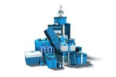 Cadeaux bleus et argentés de Noël illustration stock