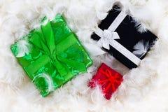 Cadeaux décoratifs de Noël dans les plumes luxuriantes Photographie stock