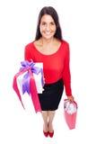 Cadeaux d'achats de femme Image libre de droits