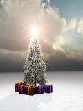 Cadeaux d'arbre de Noël Image stock