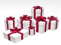 Cadeaux dans 3d au-dessus d'un fond blanc Images libres de droits
