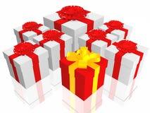 Cadeaux dans 3d au-dessus d'un fond blanc Photos libres de droits