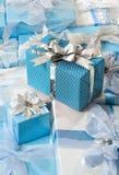 Cadeaux dans le bleu Photographie stock