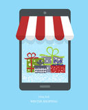 Cadeaux de achat de Noël Concept en ligne d'achats illustration libre de droits