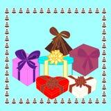 Cadeaux de boîte Cadres avec des cadeaux Photos libres de droits