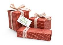 Cadeaux de Noël avec le label Image stock