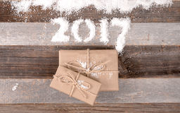 Cadeaux 2017 de Noël de bonne année Photos libres de droits