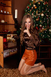 Cadeaux de Noël de dissimulation de belle femme tout en faisant un silence Photos libres de droits