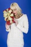Cadeaux de Noël de transport de jeune femme photographie stock libre de droits