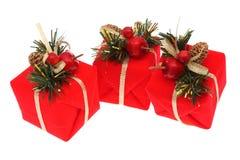 Cadeaux de Noël rouges Photos stock