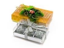 Cadeaux de Noël sur le blanc Photo stock