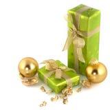 Cadeaux de Noël verts Photographie stock