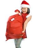 Cadeaux de transport d'elfe de Noël Photos stock
