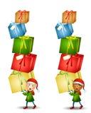 Cadeaux de transport de Noël d'elfe Images libres de droits