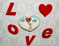 Cadeaux de Valentine Coeurs de pain d'épice avec Photo libre de droits