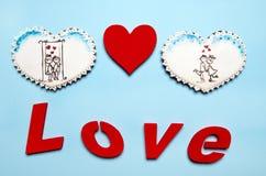 Cadeaux de Valentine Coeurs de pain d'épice avec Photos libres de droits